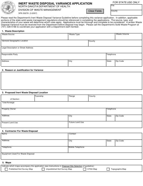 Form SFN50278  Printable Pdf