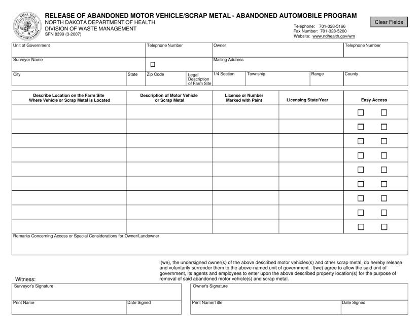 Form SFN8390  Printable Pdf