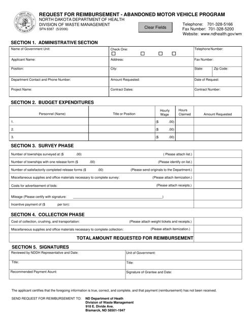 Form SFN8387  Printable Pdf