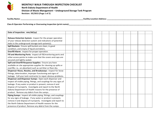 """Monthly Walk-Through Inspection Checklist"" - North Dakota Download Pdf"