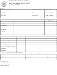 """Form SFN8539 """"Oil Seed Processing Equipment Annual Emission Inventory Report"""" - North Dakota"""