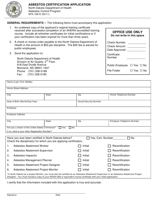 Form Sfn16610 Download Printable Pdf Or Fill Online Asbestos