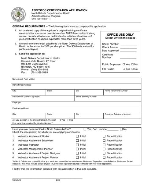 Form SFN16610  Printable Pdf