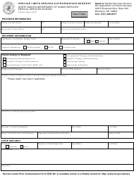 "Form SFN481 ""Service Limits Service Authorization Request"" - North Dakota"