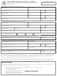 "Form SFN4598 ""Employment and Age Certificate - Minors"" - North Dakota"