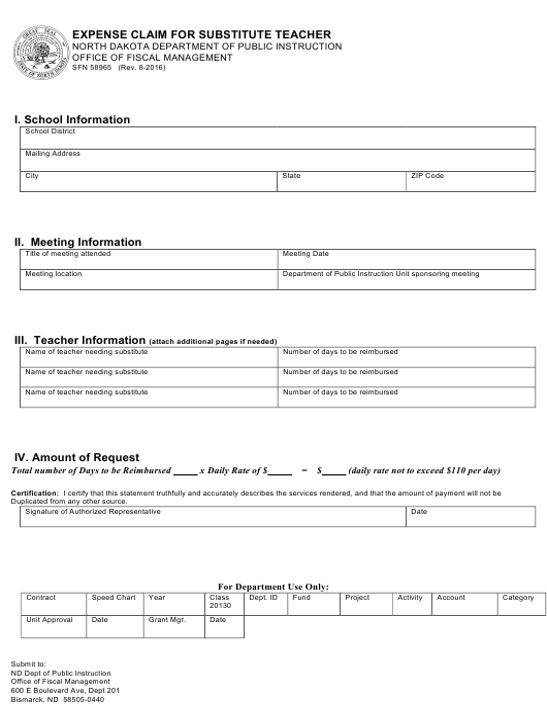 Form SFN58965  Printable Pdf