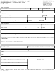 "Form SFN2888 ""Seller's Certificate and Vehicle Bill of Sale"" - North Dakota"
