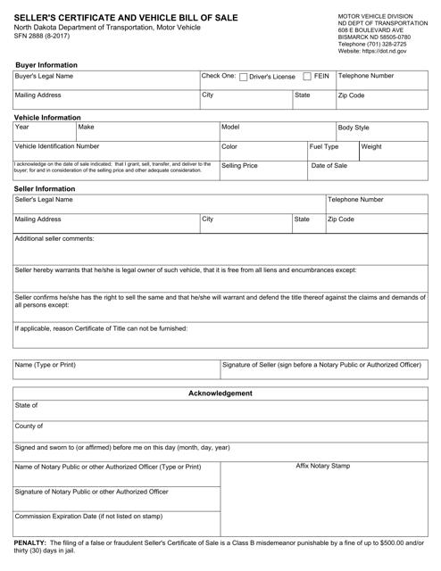 Form SFN2888  Printable Pdf