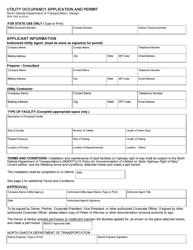 """Form SFN7995 """"Utility Occupancy Application and Permit"""" - North Dakota"""