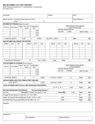 "Form SFN9988 ""Mix Bitumen Cut-Off Report"" - North Dakota"