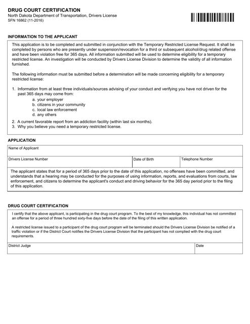Form SFN16862  Printable Pdf