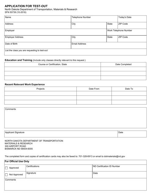 Form SFN50739 Printable Pdf