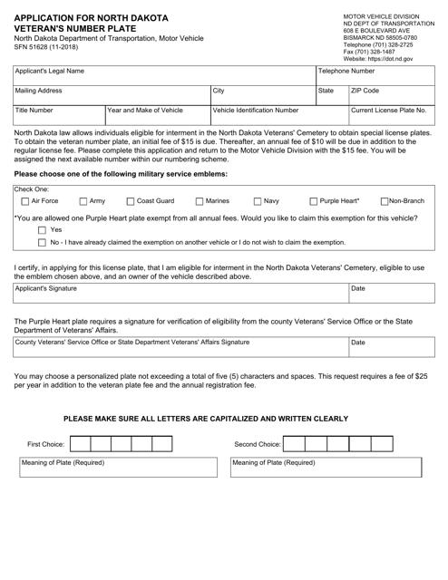 Form SFN51628  Printable Pdf