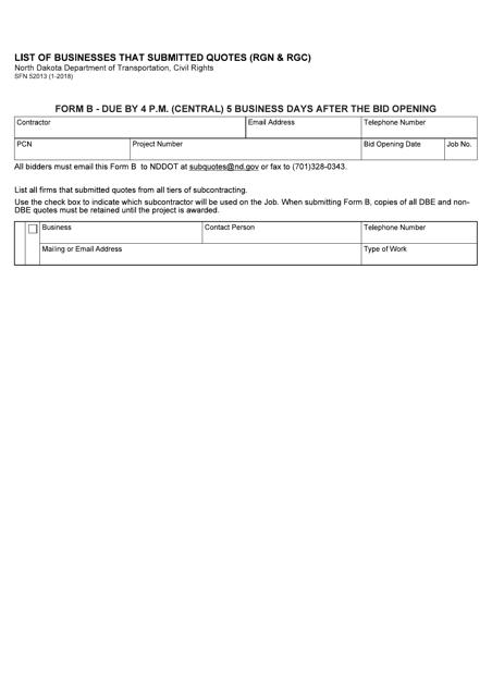Form SFN52013 (B)  Printable Pdf