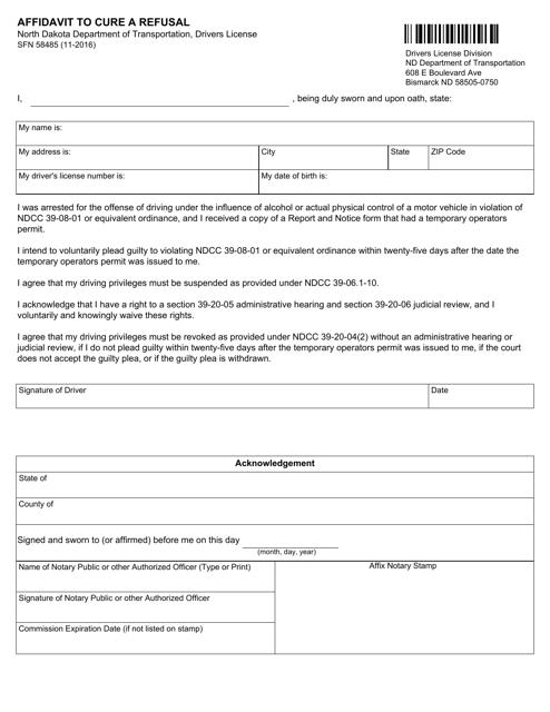 Form SFN 58485 Download Fillable PDF, Affidavit to Cure a