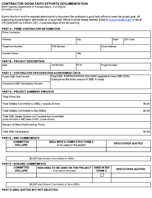 Form SFN 60829 Download Fillable PDF, Contractor Good Faith