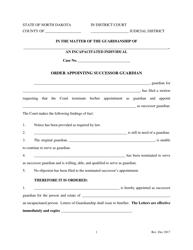 """Order Appointing Successor Guardian"" - North Dakota"