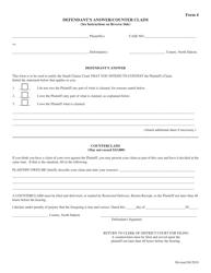 "Form 4 ""Defendant's Answer/Counter Claim"" - North Dakota"