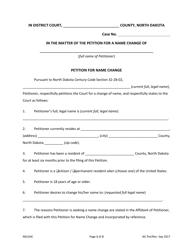 """Petition for Name Change"" - North Dakota"