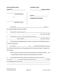 """Complaint for Eviction"" - North Dakota"