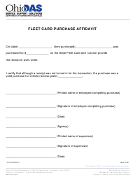"Form OFMFRM0002 ""Fleet Card Purchase Affidavit"" - Ohio, 2019"