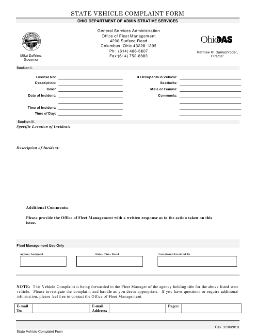 """""""State Vehicle Complaint Form"""" - Ohio Download Pdf"""