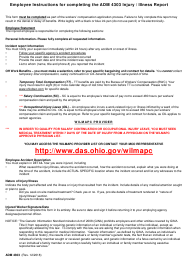 "Form ADM4303 ""Injury / Illness Report"" - Ohio"