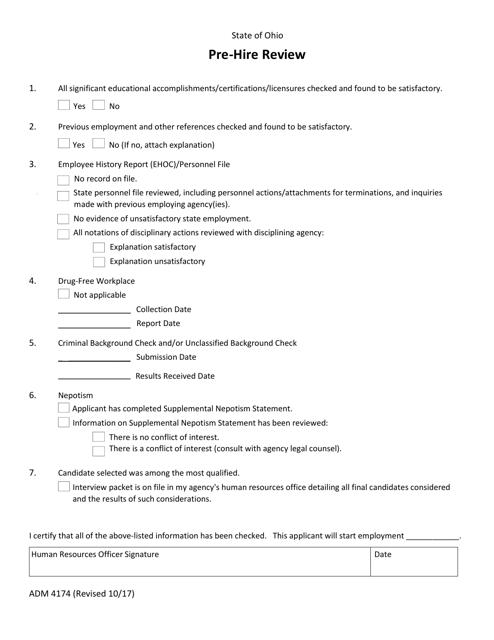 Form ADM4174  Printable Pdf