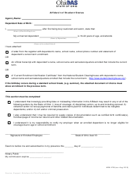 "Form ADM-4729 ""Affidavit of Student Status"" - Ohio"
