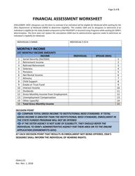 "Form ODA1115 ""Financial Assessment Worksheet"" - Ohio"