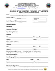"""Change of Information Form for Applicators"" - Ohio"