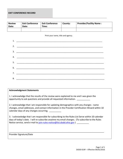 Form Dodd019f Download Printable Pdf Or Fill Online Exit