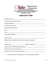 """Complaint Form"" - Ohio"