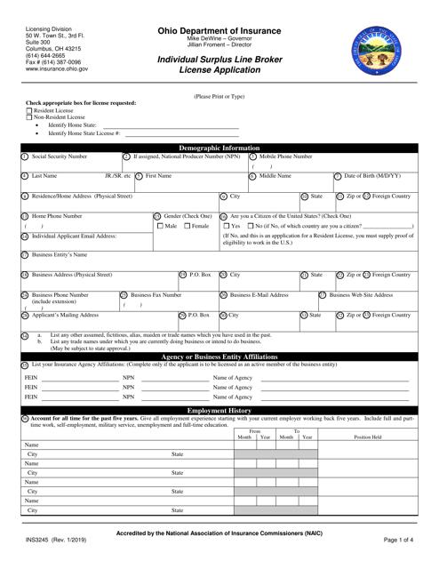 Form INS3245  Printable Pdf