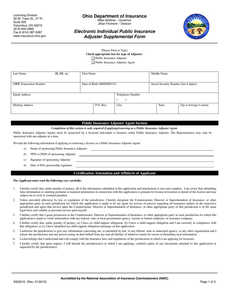 Form INS3216 Download Fillable PDF or Fill Online ...