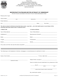 "Form DNR8503 ""Watercraft/Outboard Motor Affidavit of Ownership"" - Ohio"