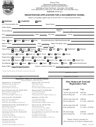 "Form DNR8511 ""Registration Application for a Documented Vessel"" - Ohio"
