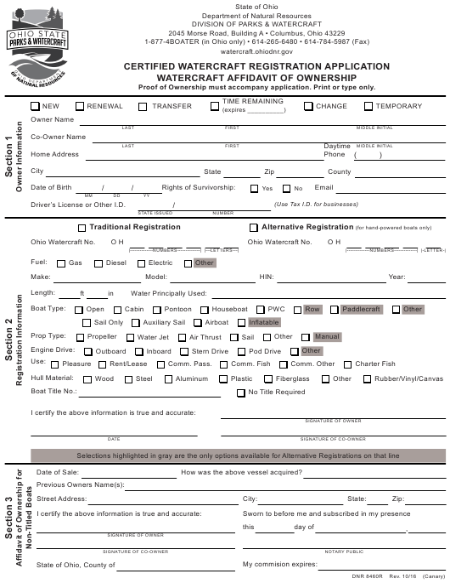 Ohio Certified Watercraft Registration Application