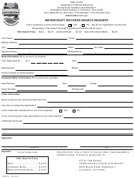 "Form DNR8513 ""Watercraft Records Search Request"" - Ohio"