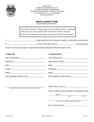"Form DNR8515 ""Minor Consent Form"" - Ohio"