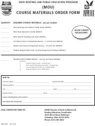 "Form DNR8296 ""(Mou) Course Materials Order Form"" - Ohio"