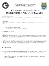 "Form DNR8285 ""Obec Instructor Applicant Packet"" - Ohio"
