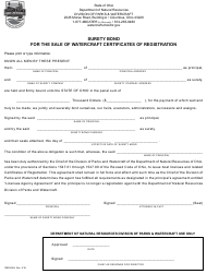 "Form DNR8204 ""Surety Bond for the Sale of Watercraft Certificates of Registration"" - Ohio"