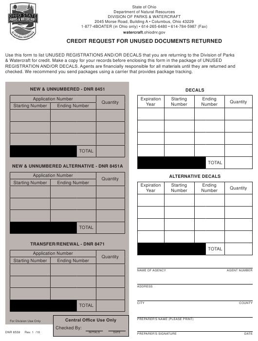 Form DNR8559  Printable Pdf
