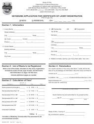 "Form DNR8510 ""Notarized Application for Certificate of Livery Registration"" - Ohio"