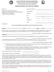 "Form DNR5623 ""Irrevocable Letter of Credit"" - Ohio"