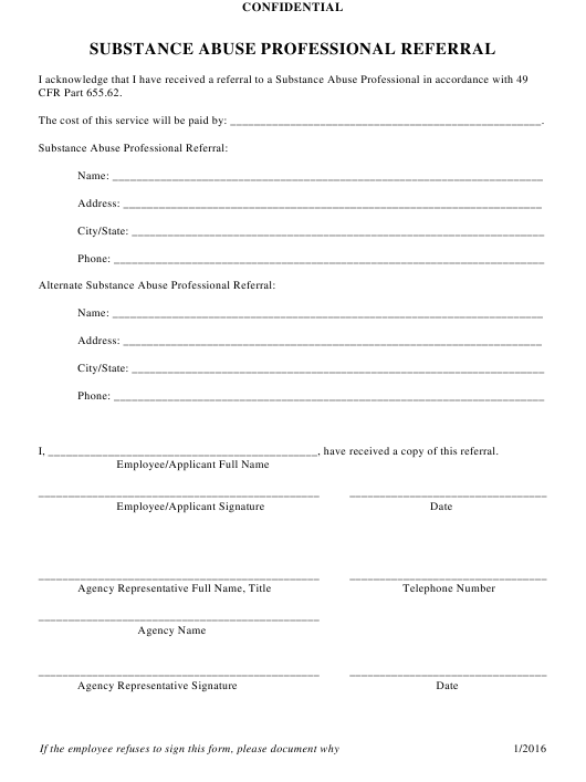 """""""Substance Abuse Professional Referral Form"""" - Ohio Download Pdf"""