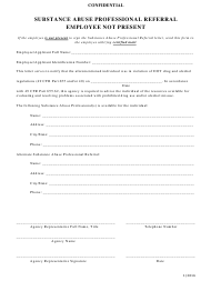 """""""Substance Abuse Professional Referral Form - Employee Not Present"""" - Ohio"""