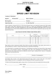 "Form 1296-6A ""Speed Limit Revision"" - Ohio"