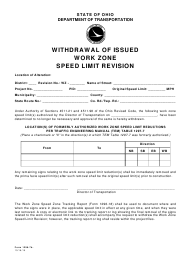 "Form 1296-7B ""Withdrawal of Issued Work Zone Speed Limit Revision"" - Ohio"